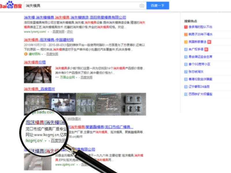 网站排名案例:成广模具--消失模具